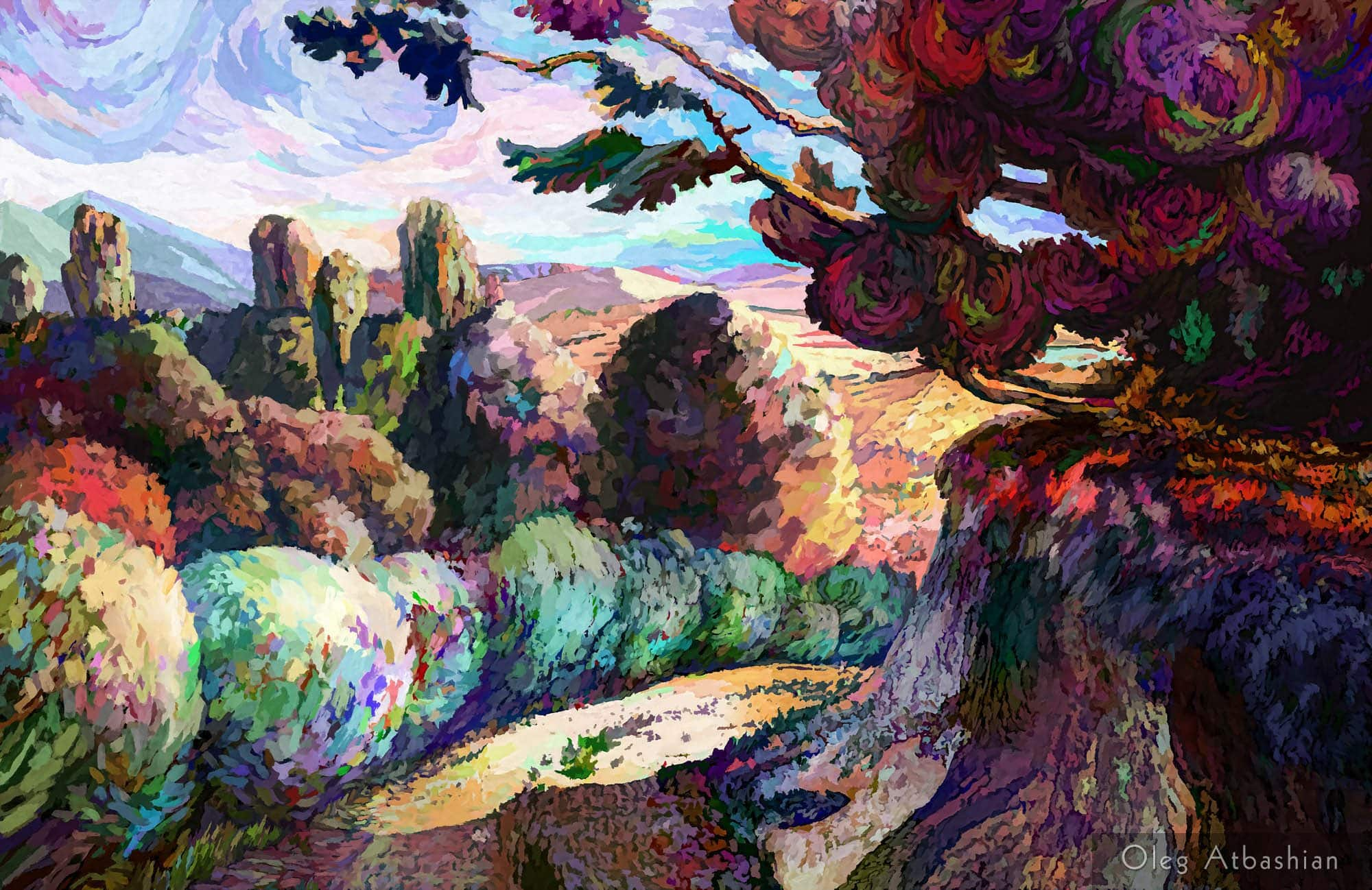 Purple Path in the Caucasus Mountains