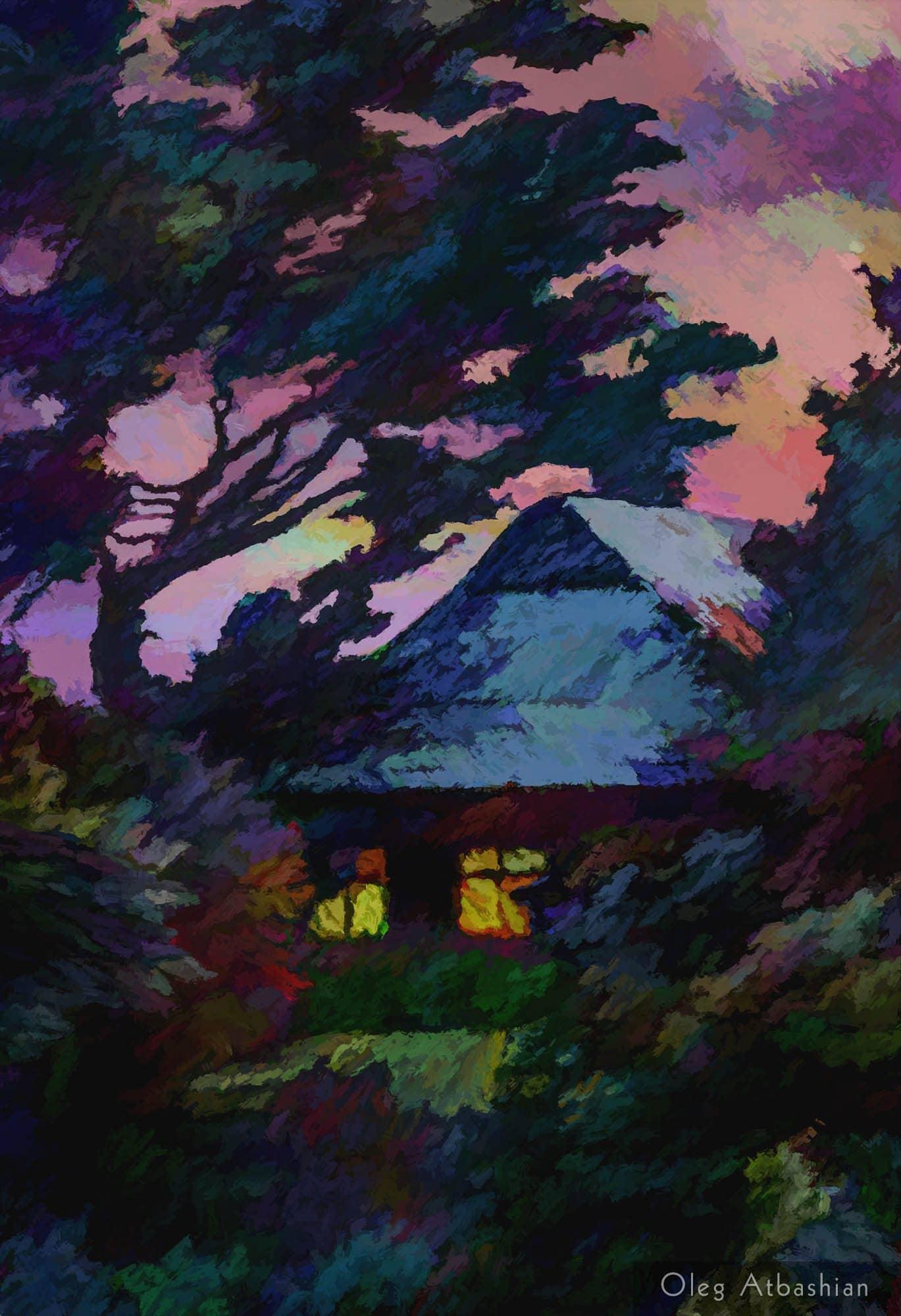 Light in Windows on Summer Evening