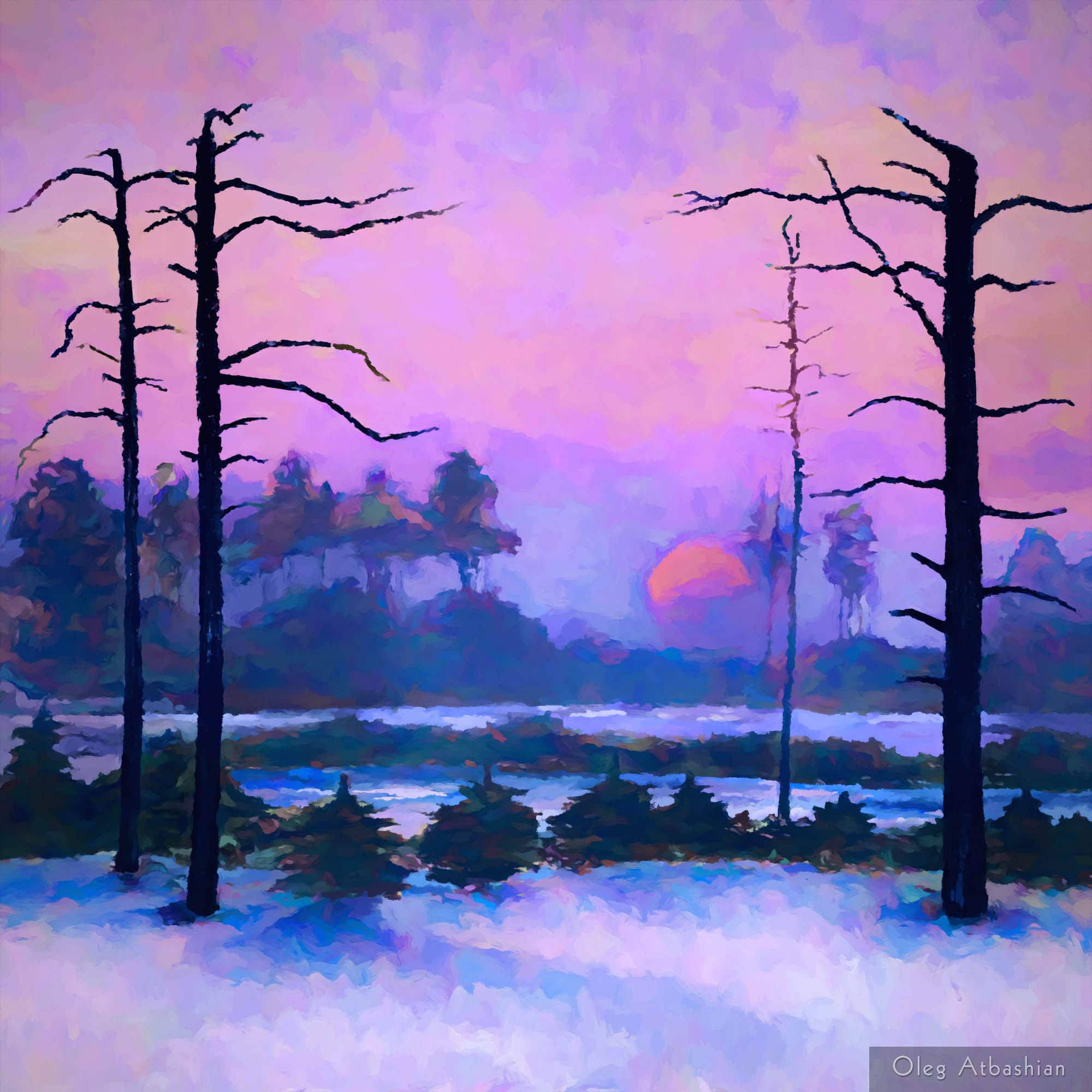 Winter Sunset in Siberia