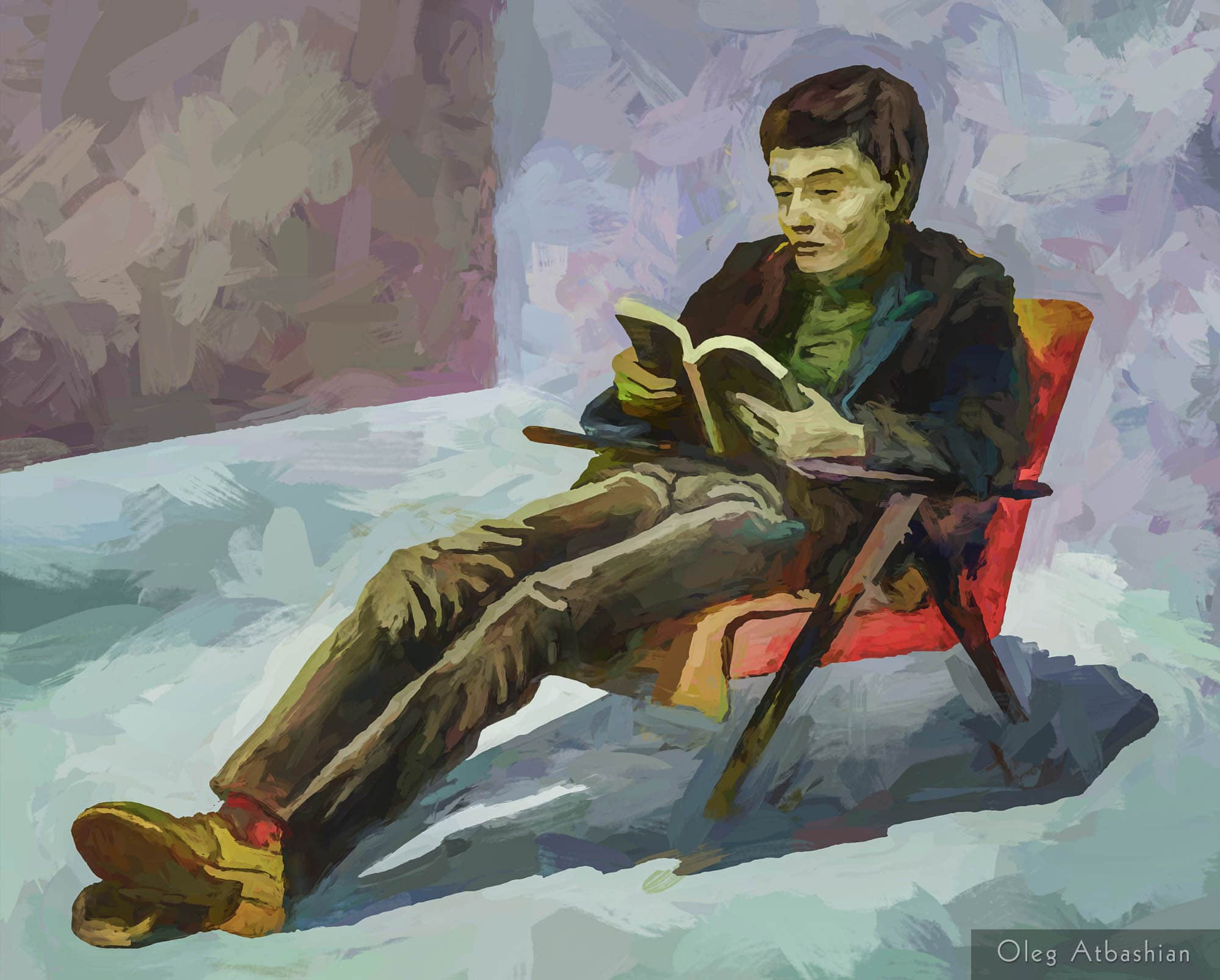 Portr Friend Reads in Armchair