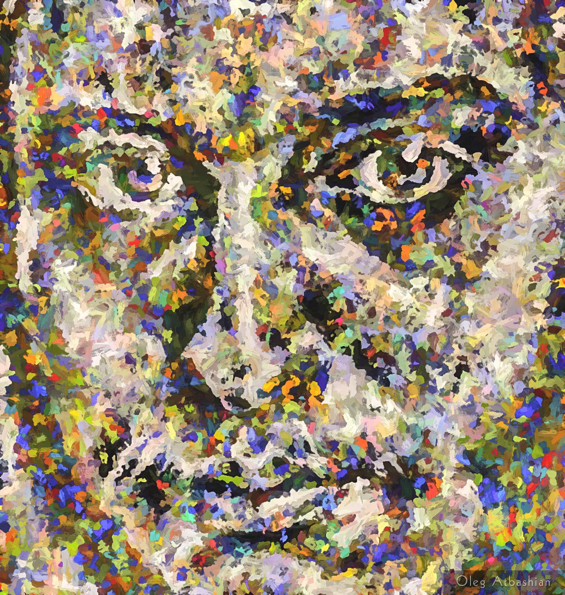 Self Portrait with a Beard, Pointillism