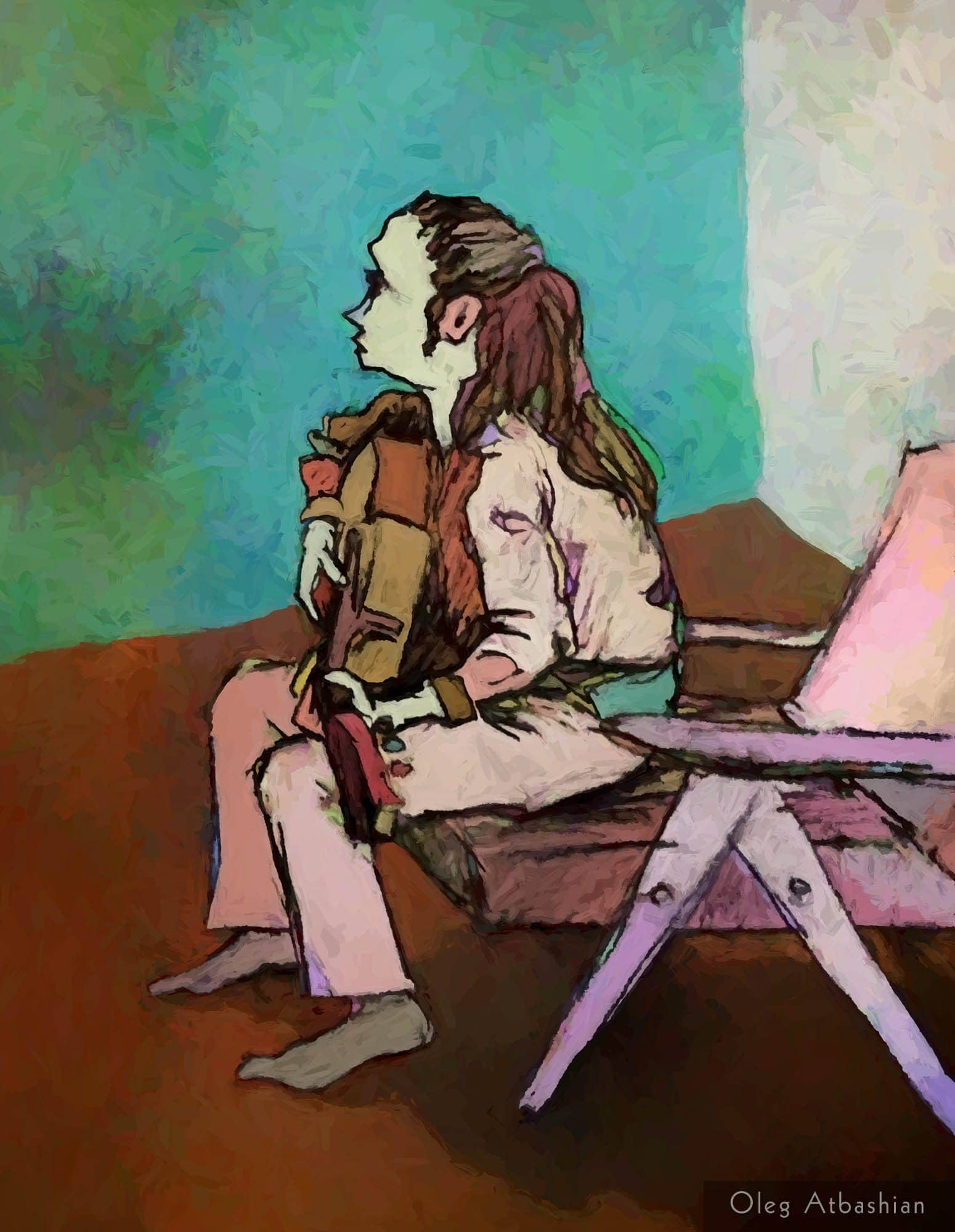 Sketch of Victoria M. playing the Guitar