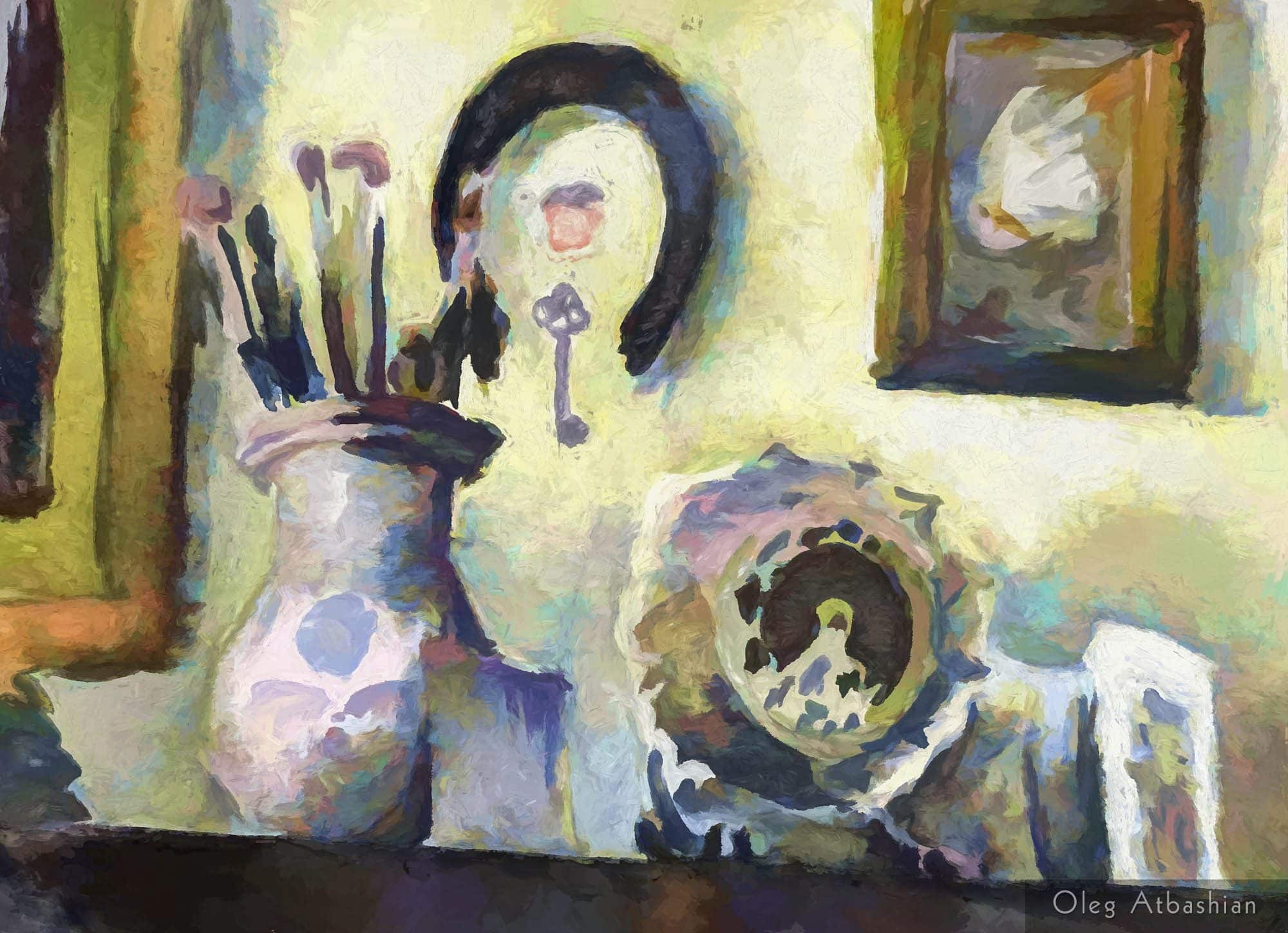 An Artist's Shelf With Brushes