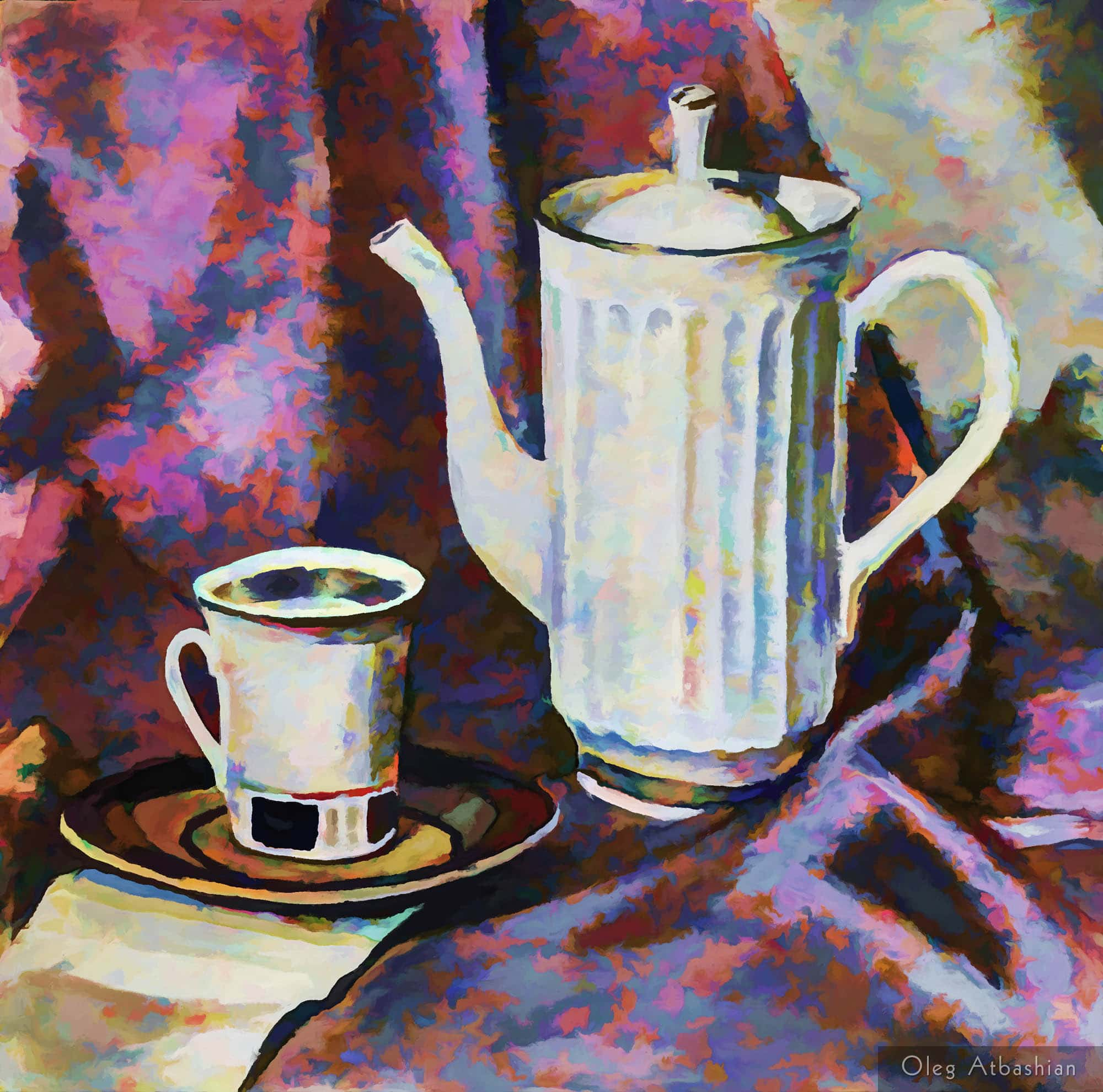 China and Silk: Still Life with a Teapot