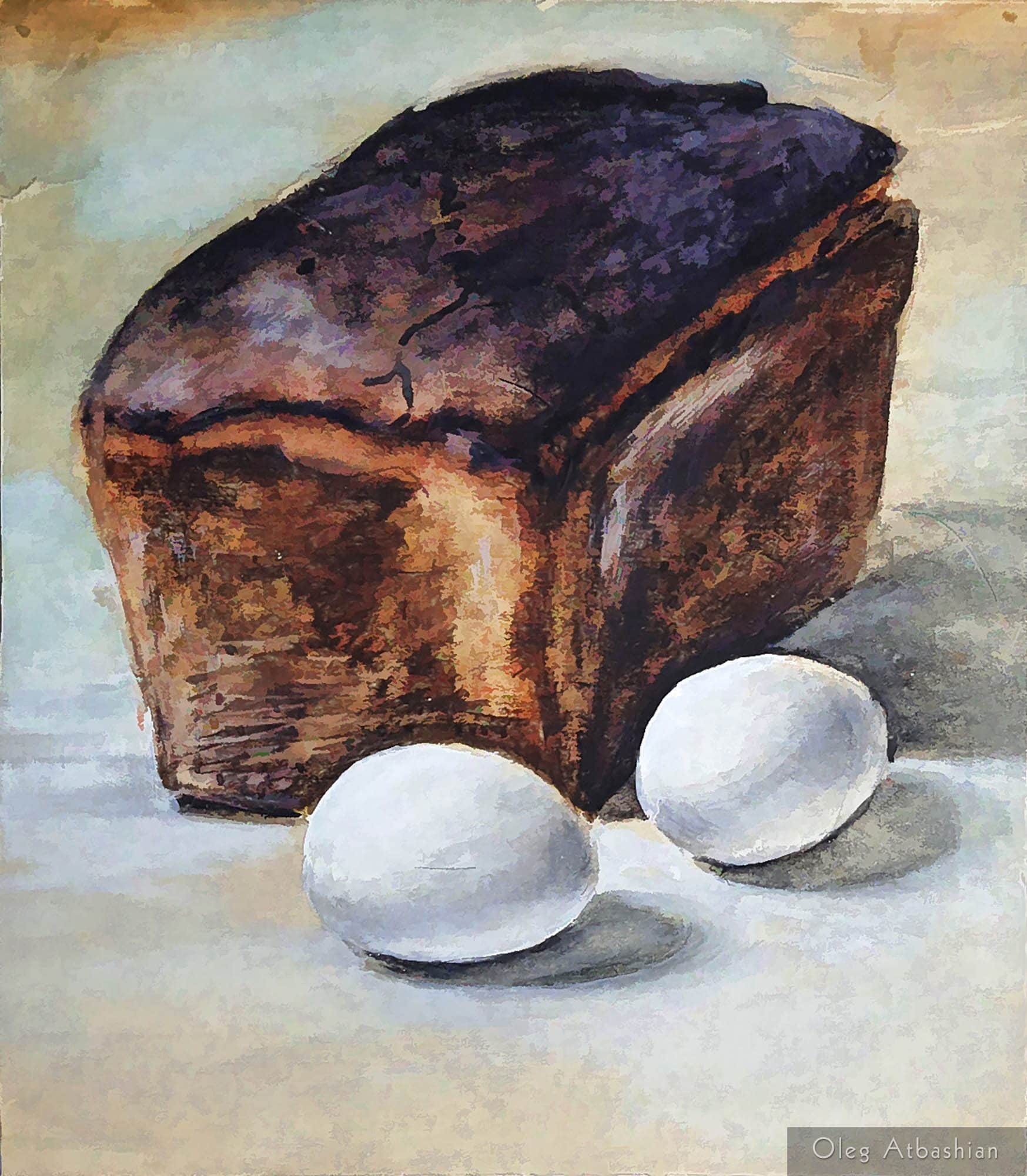 Still life: Black Bread and Boiled Eggs - a student's meal