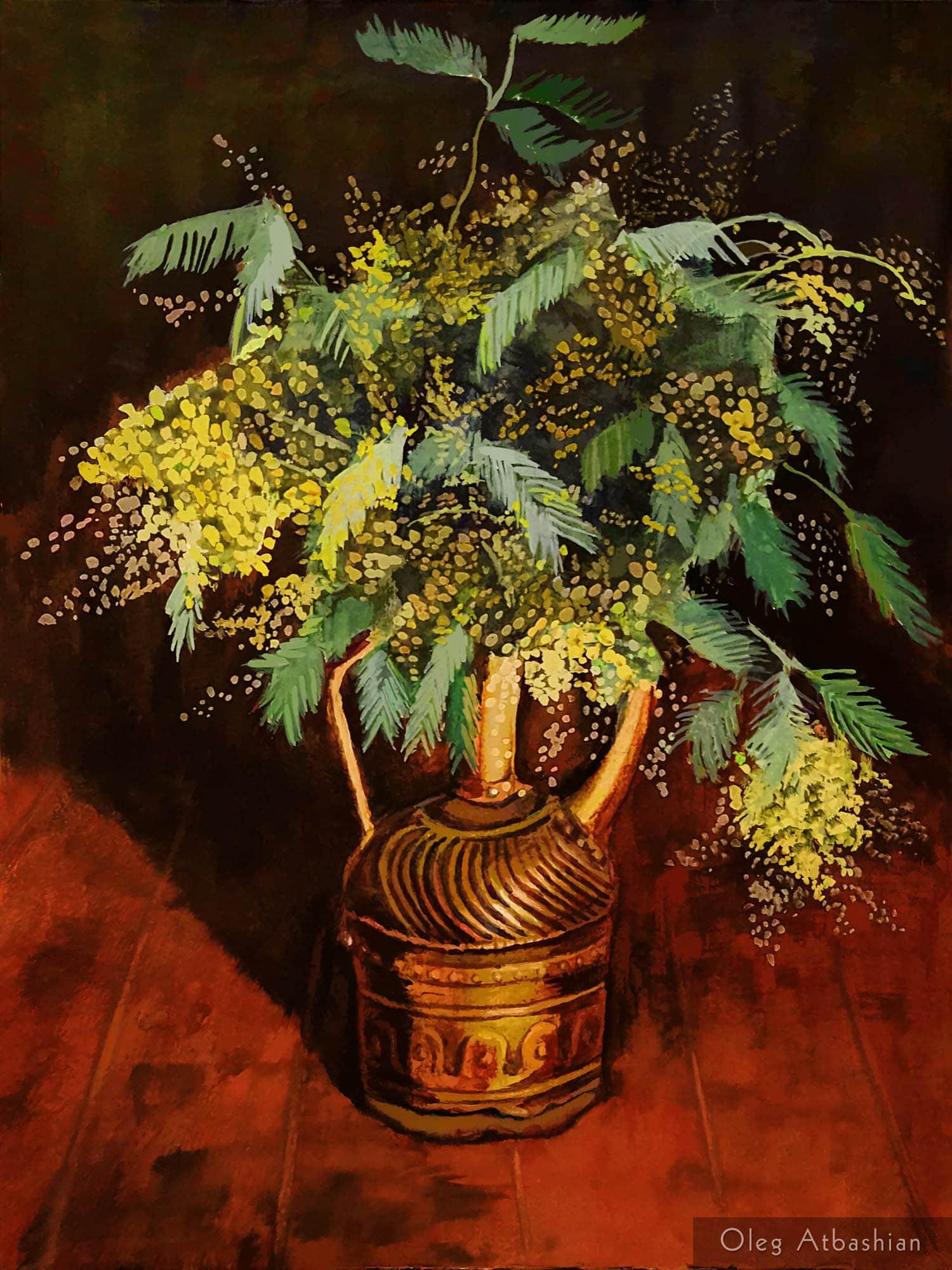 Still life: Mimosas in a Brass Jug